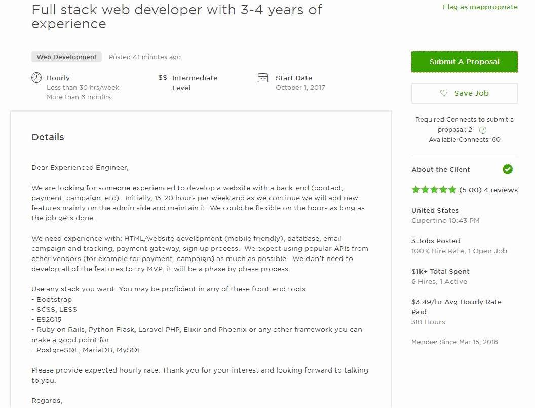 Cover Letter for Net Developer Elegant Upwork Cover Letter Sample for Web Developer Upwork Help