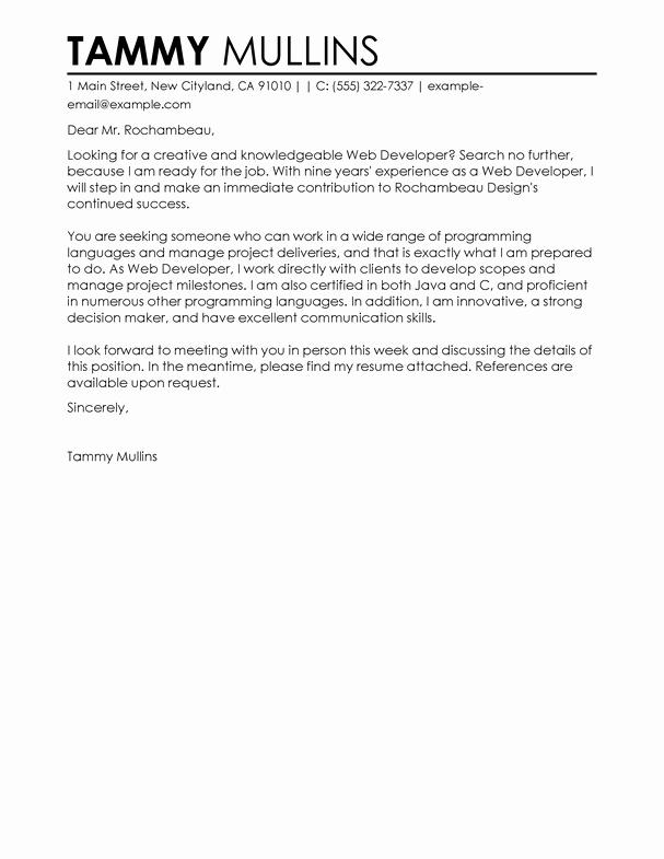 Cover Letter for Net Developer Fresh Best Web Developer Cover Letter Examples for the It