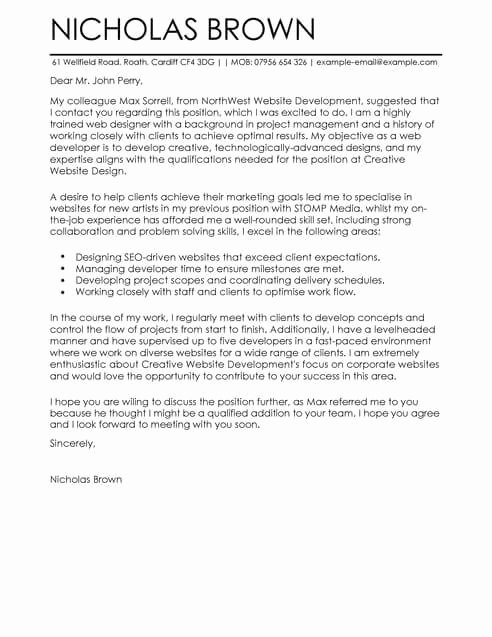 Cover Letter for Net Developer Inspirational Web Developer Cover Letter Template