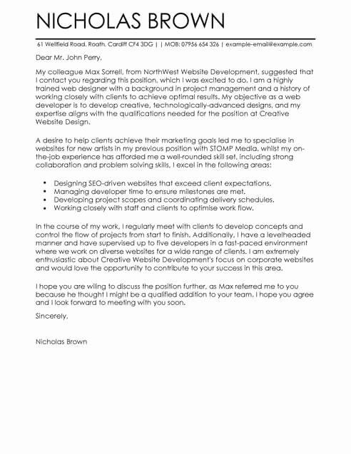 Cover Letter for Net Developer Inspirational Web Developer Cover Letter Template