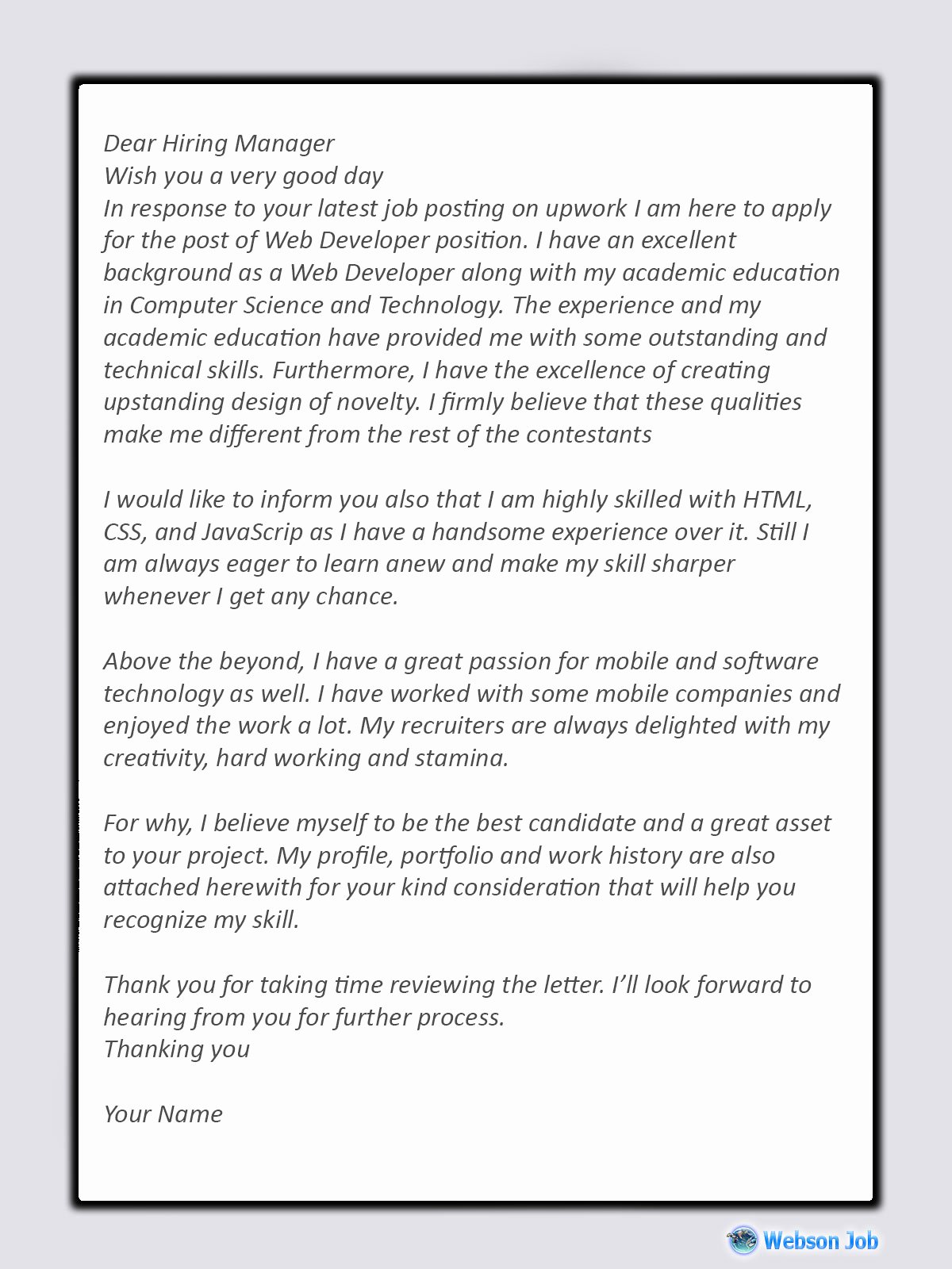 Cover Letter for Net Developer New Web Developer Proposal Sample for Upwork Webson Job
