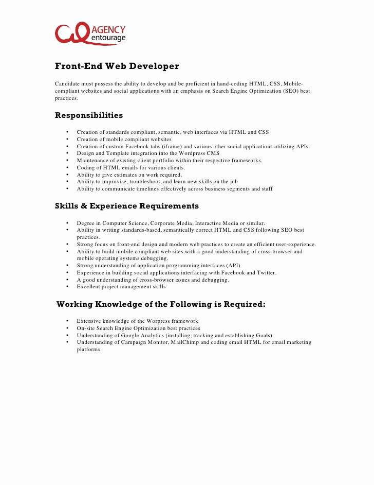 Cover Letter for Net Developer Unique Entry Level Front End Web Developer Job Description