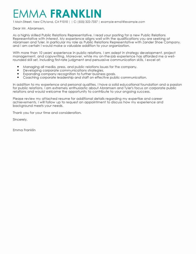 Cover Letter for New Career Fresh Best Business Cover Letter Examples Livecareer
