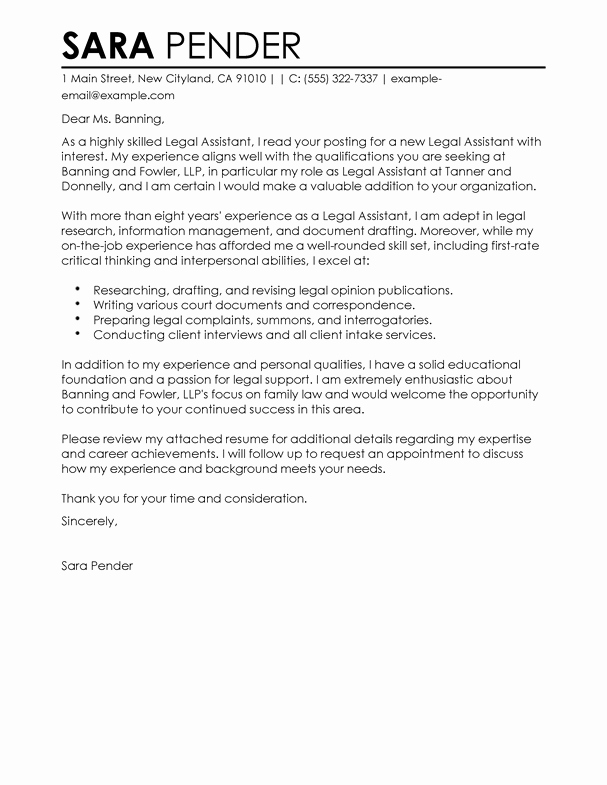 Cover Letter for New Career Lovely Best Legal assistant Cover Letter Examples