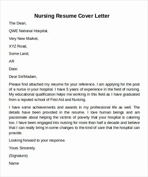Cover Letter for Nursing Student Awesome 12 Cover Letter Samples Examples Templates