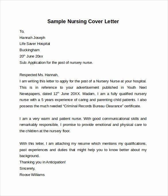 Cover Letter for Nursing Student New Nursing Cover Letter Template 9 Free Samples Examples