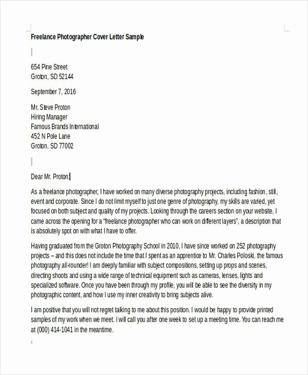 Cover Letter for Photographer Beautiful 8 Grapher Cover Letter Templates Free Sample