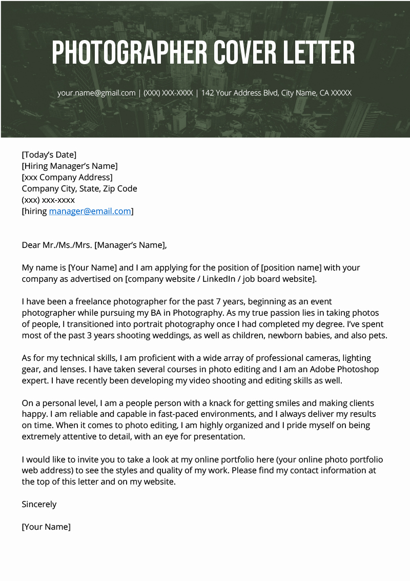 Cover Letter for Photographer Luxury Grapher Cover Letter Example & Writing Tips