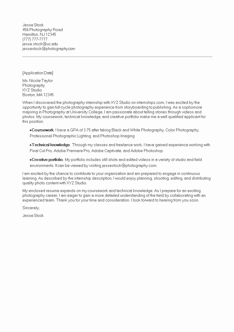 Cover Letter for Photographer Luxury Graphy Internship Cover Letter Example