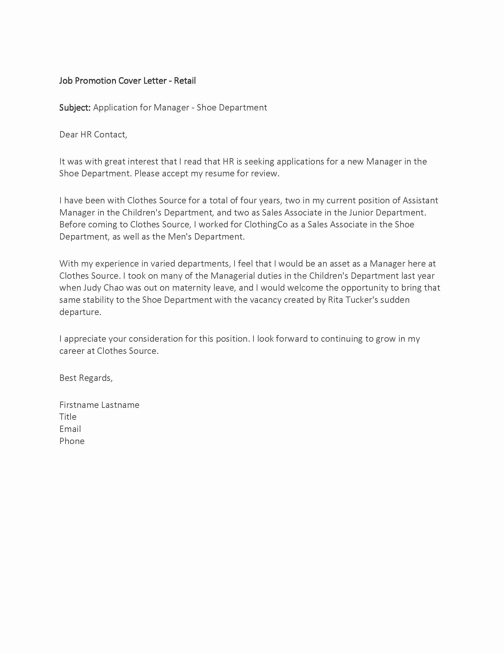 Cover Letter for Promotion Best Of Sample – Job Promotion Cover Letter