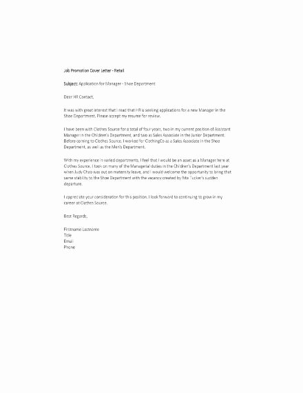 Cover Letter for Promotion Fresh 15 Promotion Letter Templates & Examples In Word Pages
