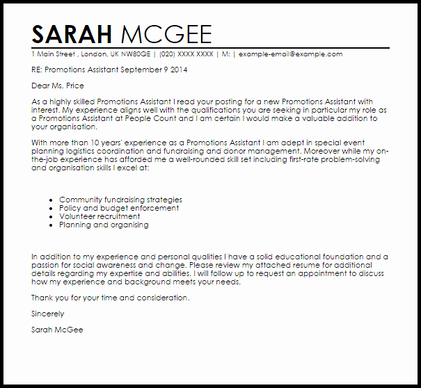 Cover Letter for Promotion Fresh Promotions assistant Cover Letter Sample