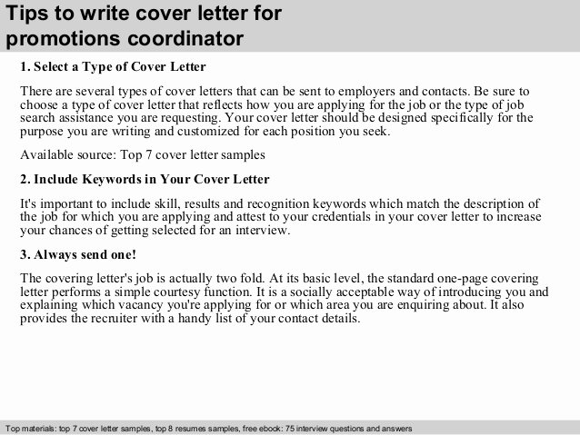 Cover Letter for Promotion Fresh Promotions Coordinator Cover Letter