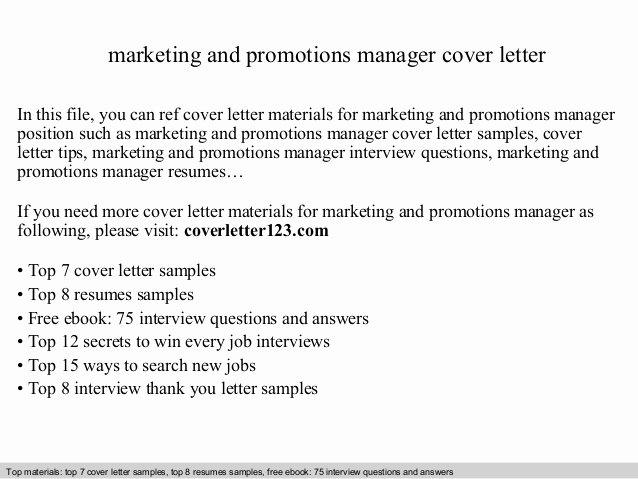 Cover Letter for Promotion Luxury Marketing and Promotions Manager Cover Letter