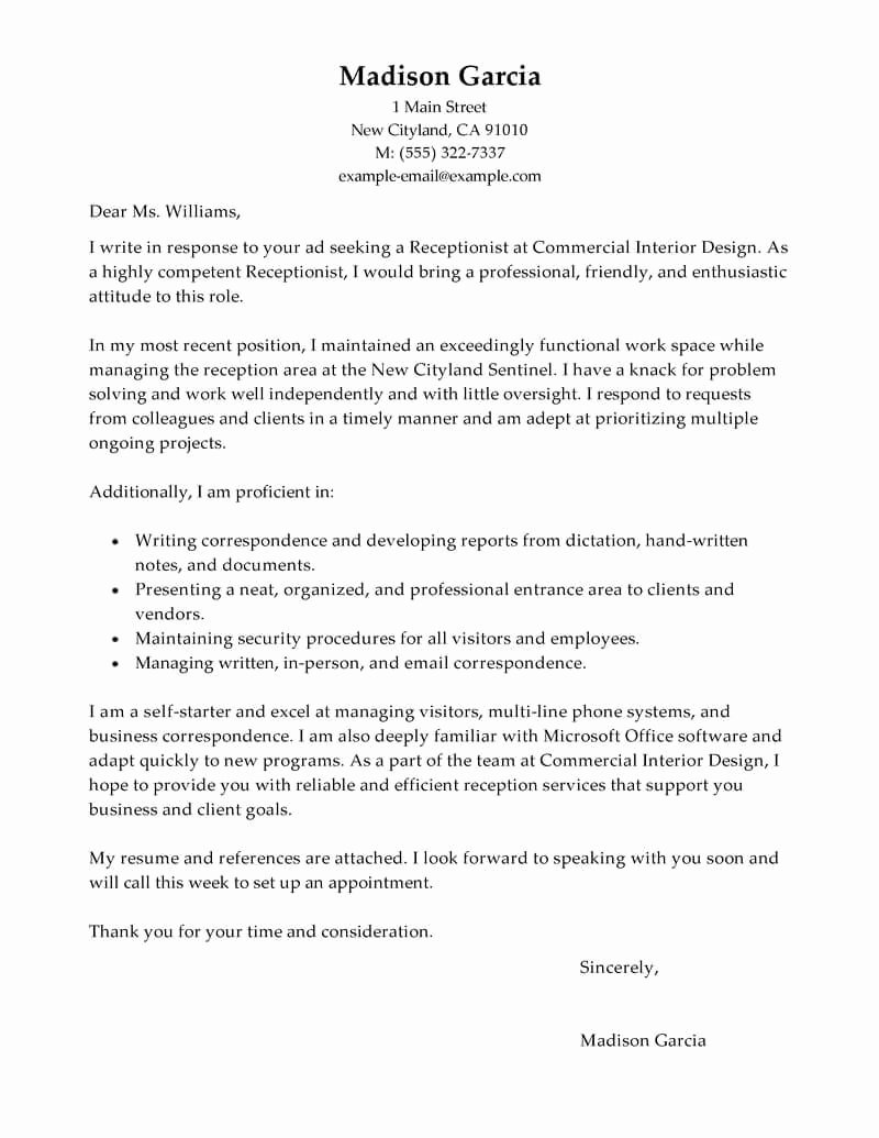 Cover Letter for Receptionist Job Fresh Cover Letter for Receptionist Receptionist Cover Letter
