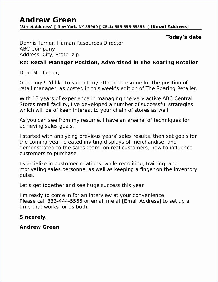 Cover Letter for Retail Job Beautiful Retail Manager Cover Letter Sample