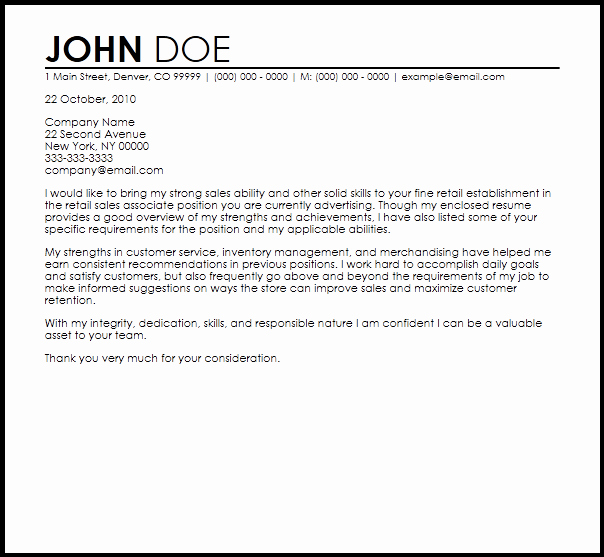 Cover Letter for Retail Job Elegant Free Retail Sales associate Cover Letter Templates