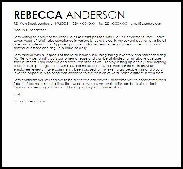 Cover Letter for Retail Job Elegant Retail Sales assistant Cover Letter Sample
