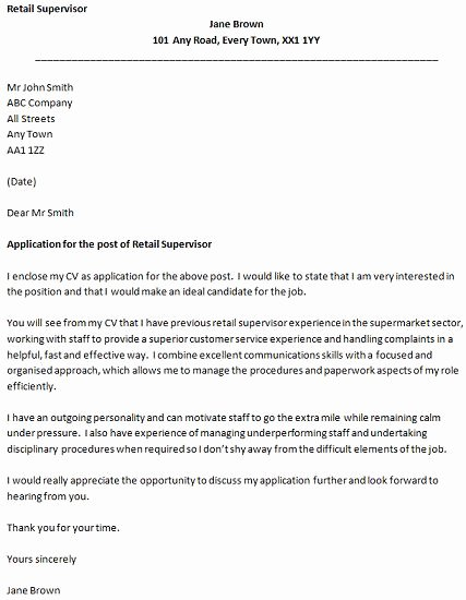 Cover Letter for Retail Job Inspirational Retail Supervisor Cover Letter Example Icover