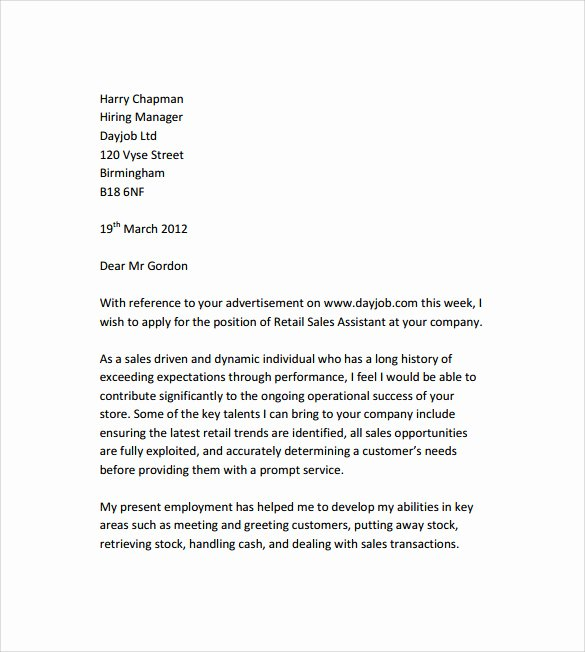 Cover Letter for Retail Job Luxury Sample Retail Cover Letter Template 9 Download Free