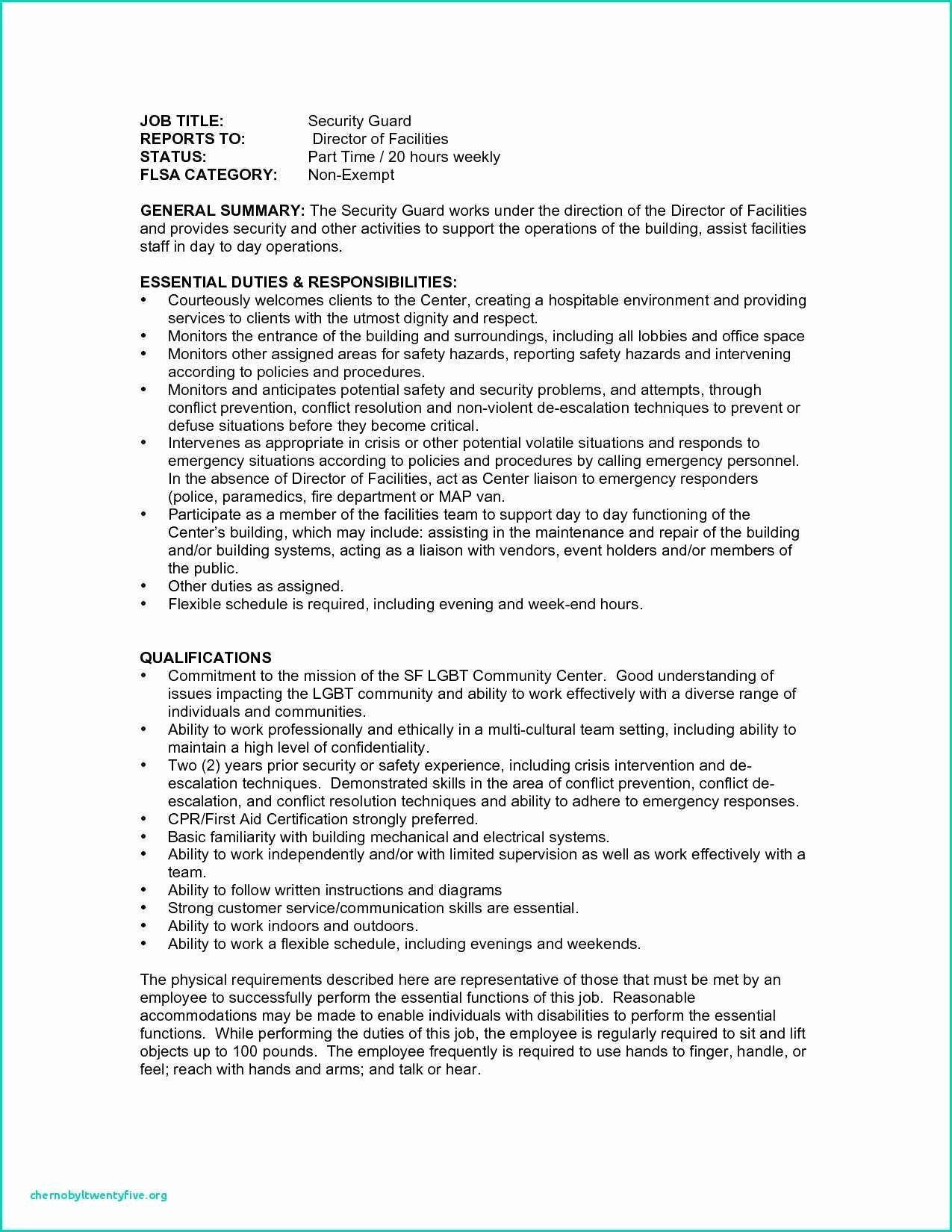 Cover Letter for Security Job Best Of 10 Sample Resumes Security Guard