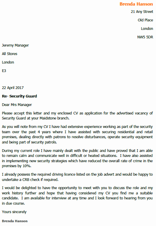 Cover Letter for Security Job Inspirational Security Guard Job Application and Cover Letter Example