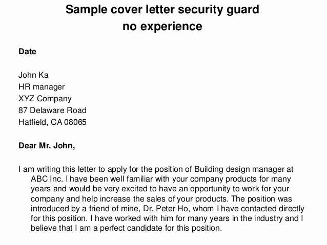 Cover Letter for Security Job Luxury Sample Cover Letter Security Guard No Experience
