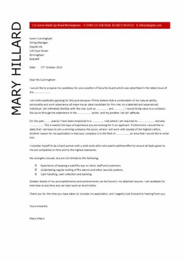 Cover Letter for Security Job Unique Security Guard Cv Sample
