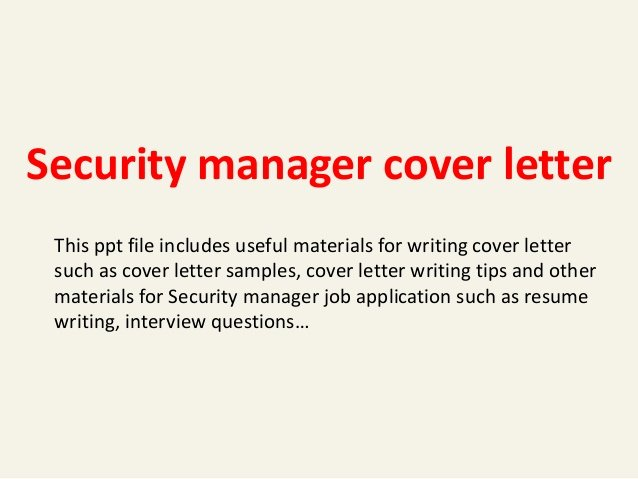Cover Letter for Security Position Awesome Cover Letter for Security Manager Job