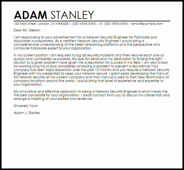 Cover Letter for Security Position Awesome Network Security Engineer Cover Letter Sample