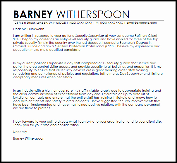 Cover Letter for Security Position Awesome Security Supervisor Cover Letter Sample