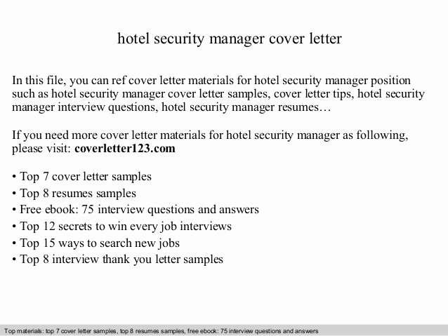 Cover Letter for Security Position Best Of Hotel Security Manager Cover Letter