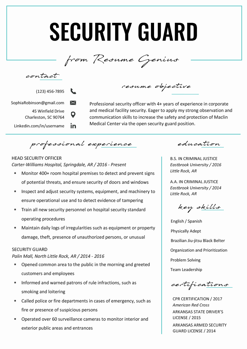 Cover Letter for Security Position Elegant Security Guard Resume Sample & Writing Tips
