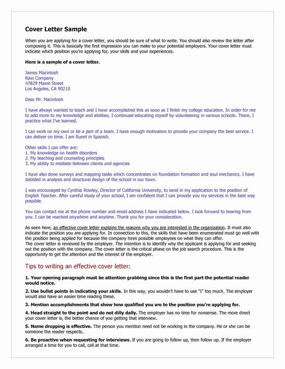 Cover Letter for Teaching Position Unique Cover Letter Example for Teacher