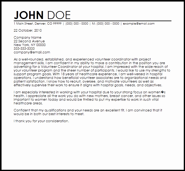 Cover Letter for Volunteer Position Beautiful Free Volunteer Cover Letter Templates