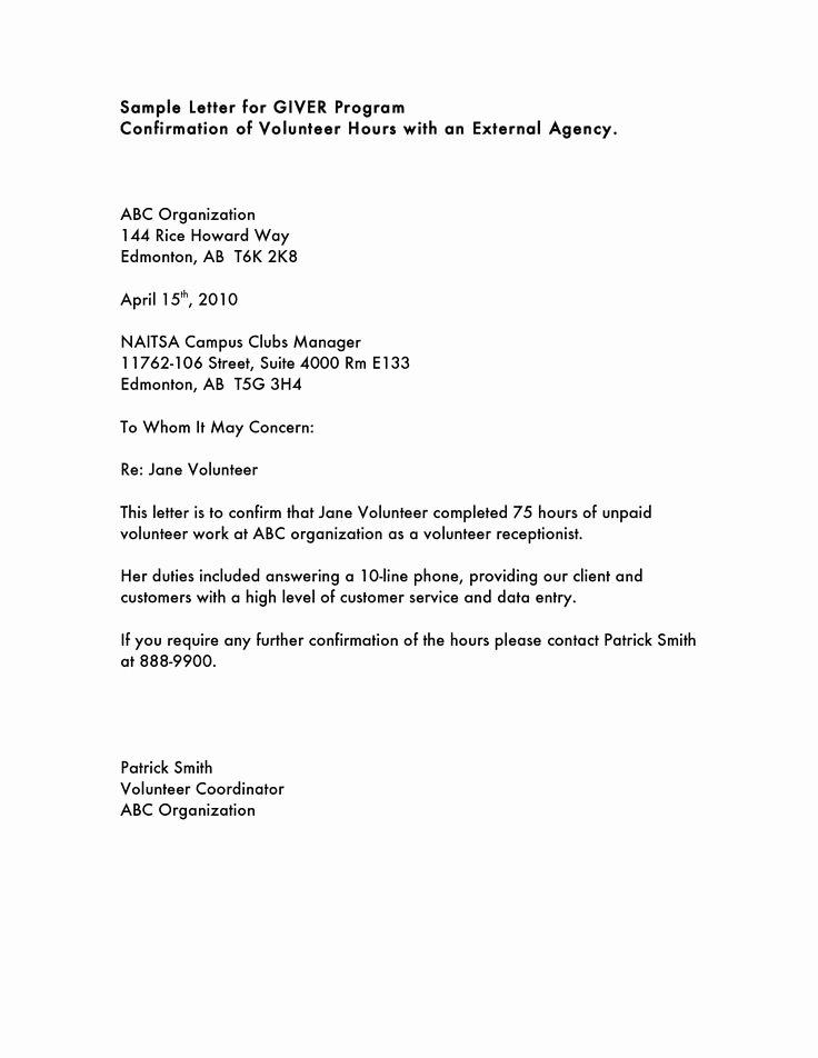 Cover Letter for Volunteer Position Best Of Volunteer Hours Letter Templatevolunteer Letter Template