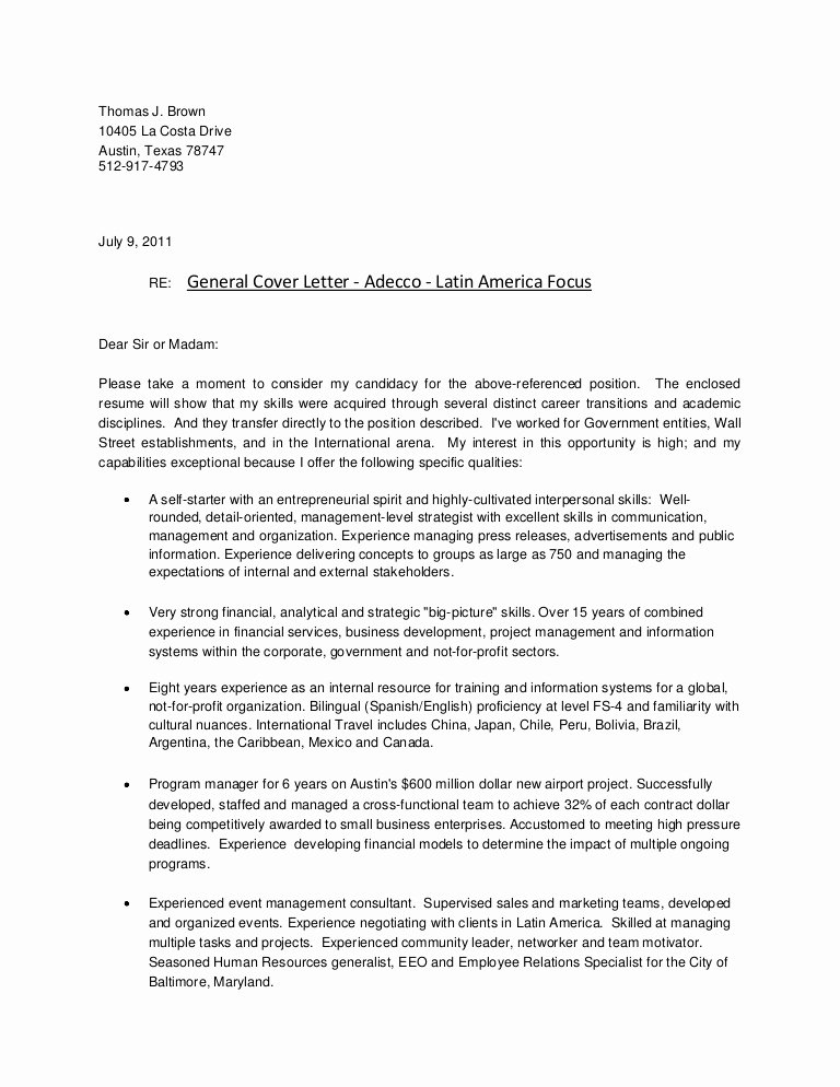 Cover Letter format for Teachers Best Of Cover Letter General Adecco Latin America Focus