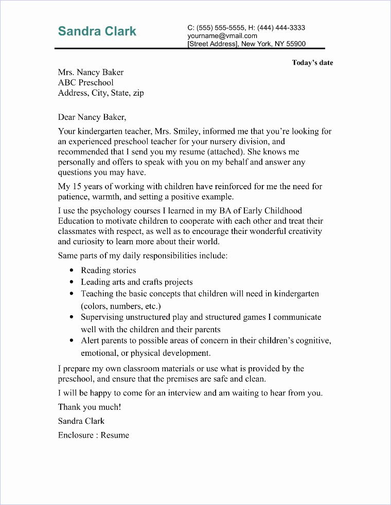 Cover Letter format for Teachers Elegant Preschool Teacher Cover Letter Sample