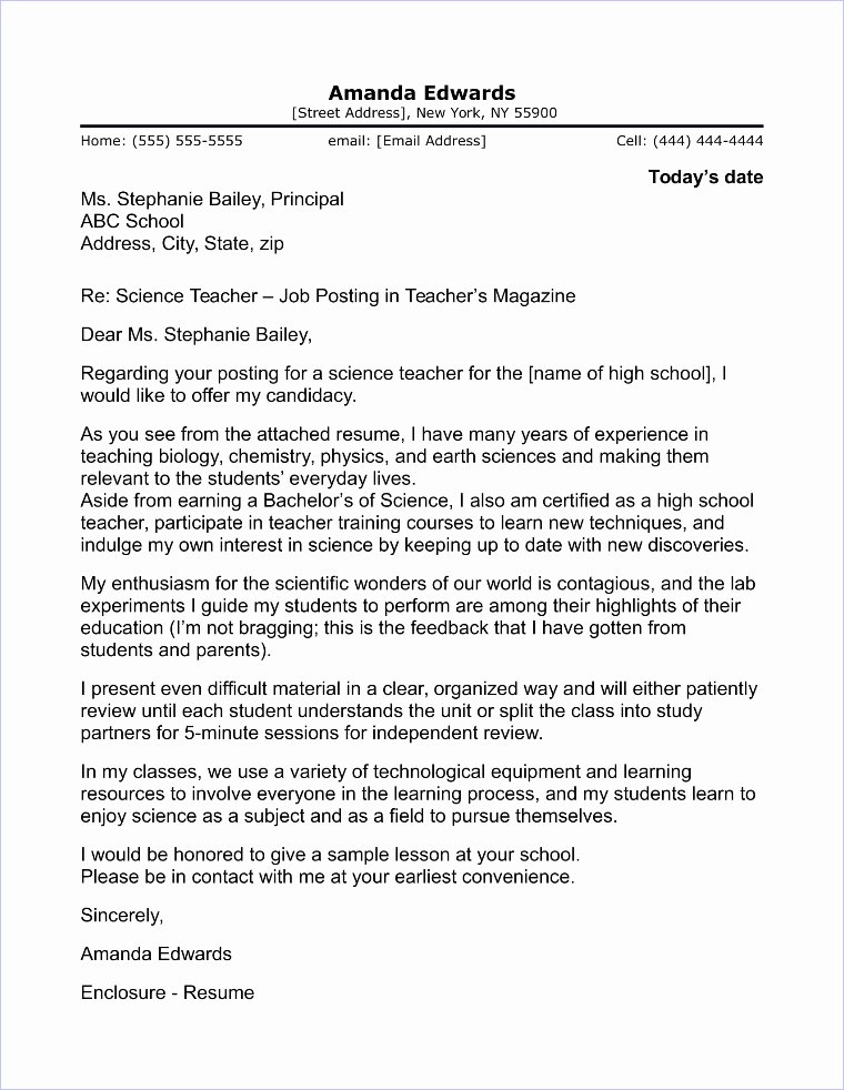 Cover Letter format for Teachers Lovely English Teacher Cover Letter Sample