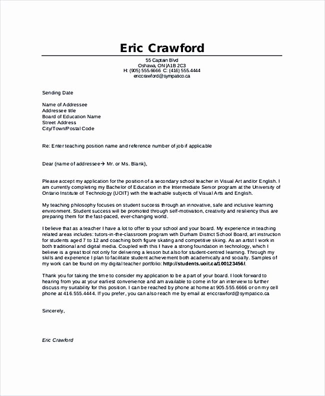 Cover Letter format for Teachers Unique Teaching Cover Letter Examples for Successful Job Application
