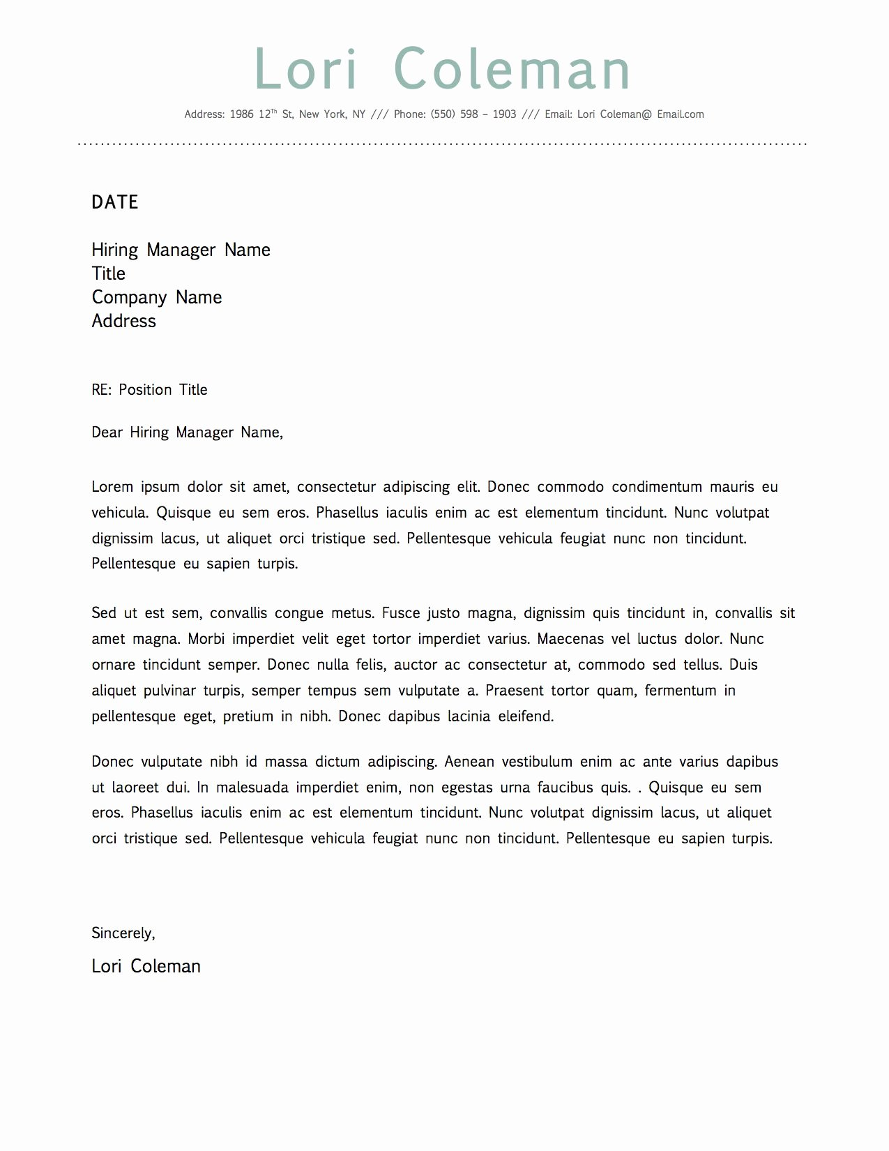 Cover Letter format Word Lovely Simple Beautiful Cover Letter Template for Microsoft Word
