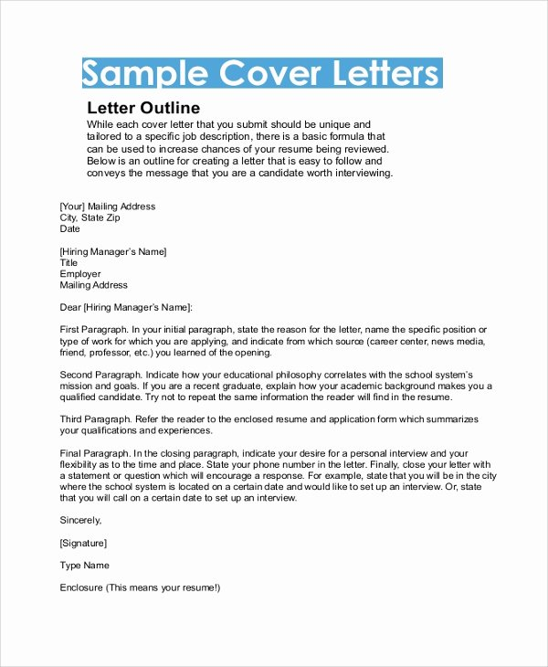 Cover Letter format Word Unique Sample Cover Letter format 9 Examples In Pdf Word