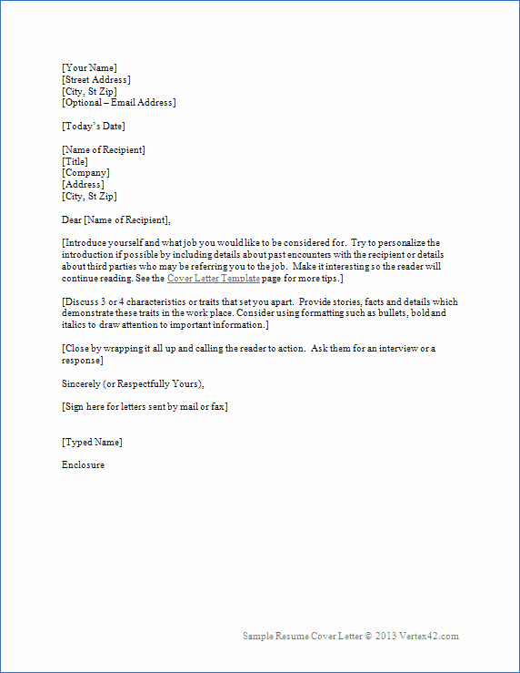Cover Letter In Word Luxury Resume Cover Letter Template for Word