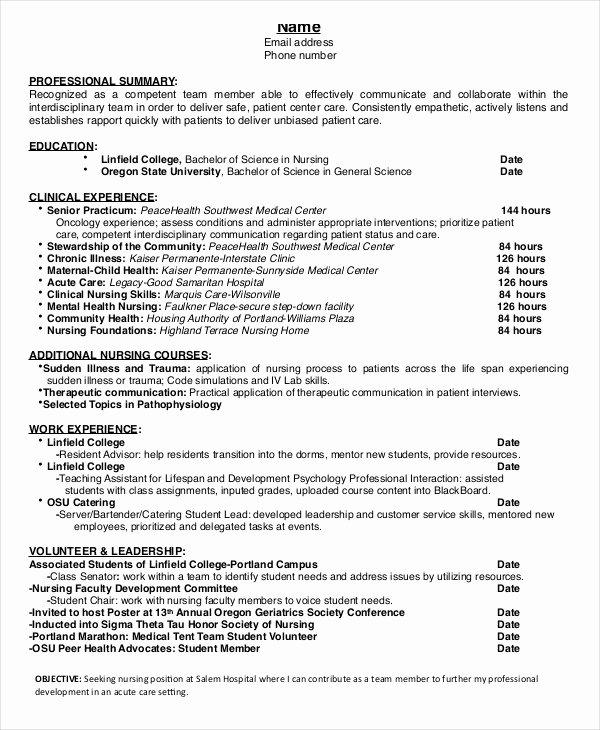 Cover Letter Nursing Student Luxury Nursing Student Resume