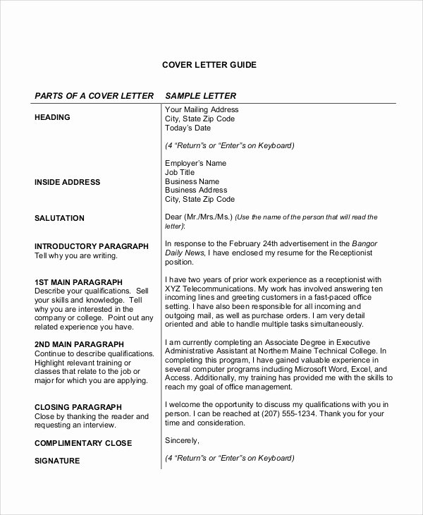 Cover Letter Sample for Receptionist Inspirational Cover Letter Receptionist 8 Examples In Word Pdf