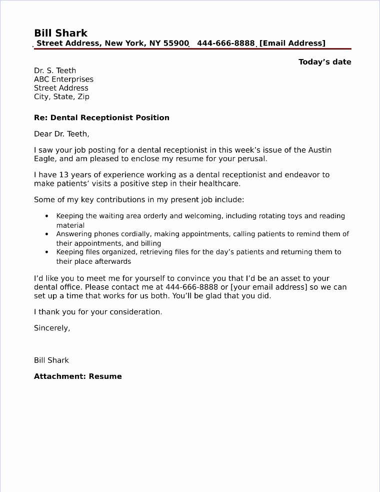 Cover Letter Sample for Receptionist New Dental Receptionist Cover Letter Sample