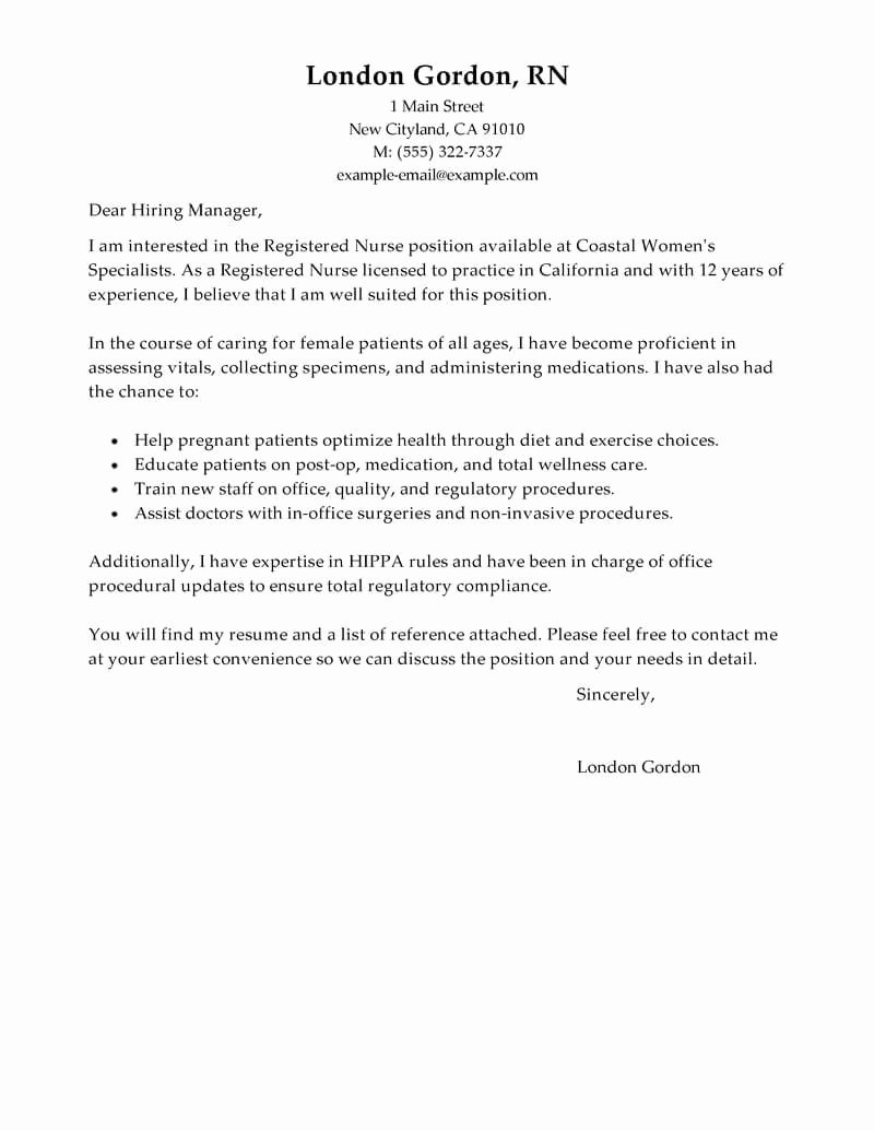 Cover Letter Template Nursing Awesome Best Registered Nurse Cover Letter Examples
