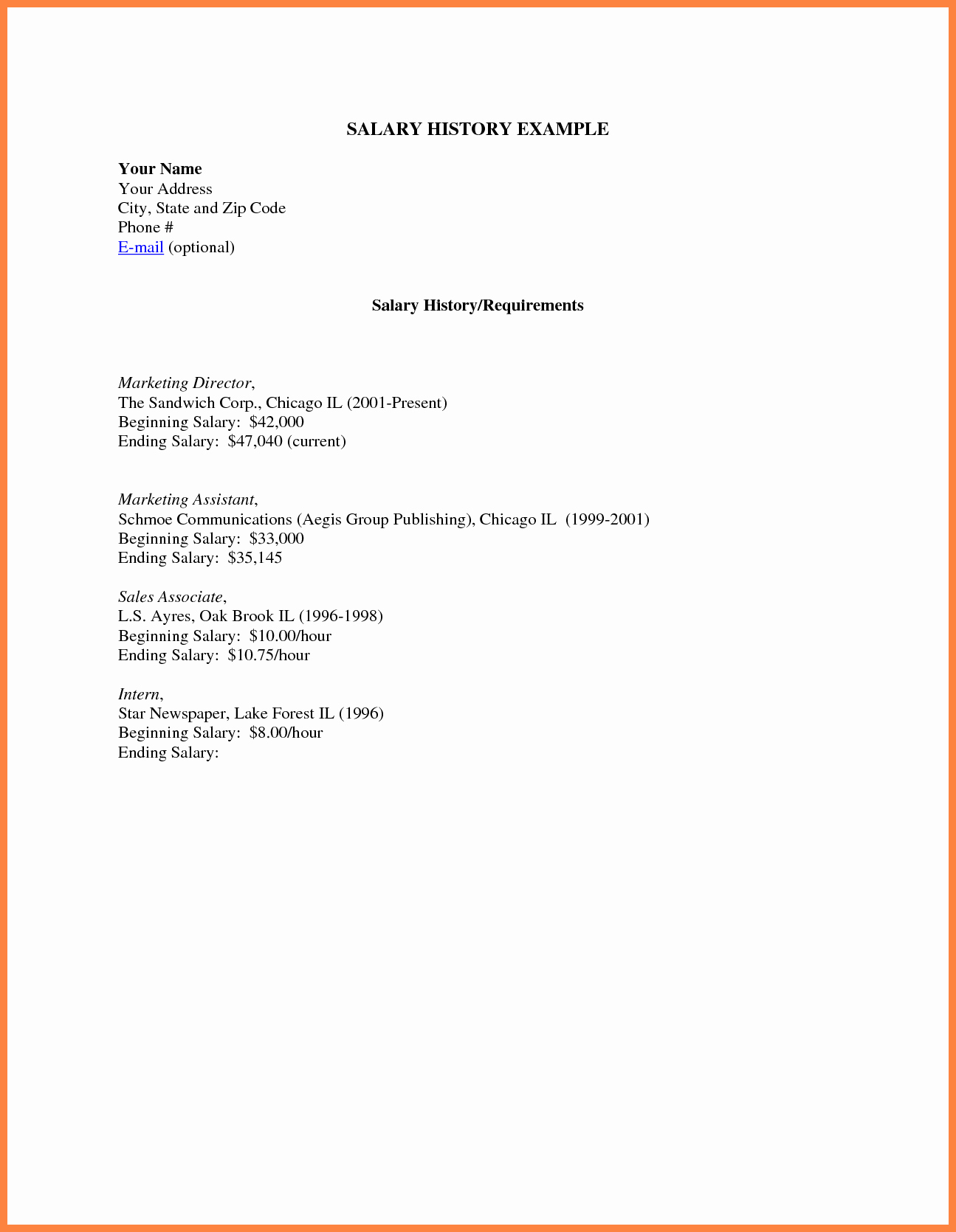 Cover Letter with Salary History Best Of 6 Resume with Salary History