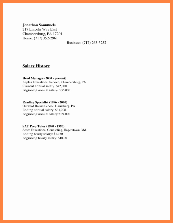 Cover Letter with Salary History New 6 Resume with Salary History