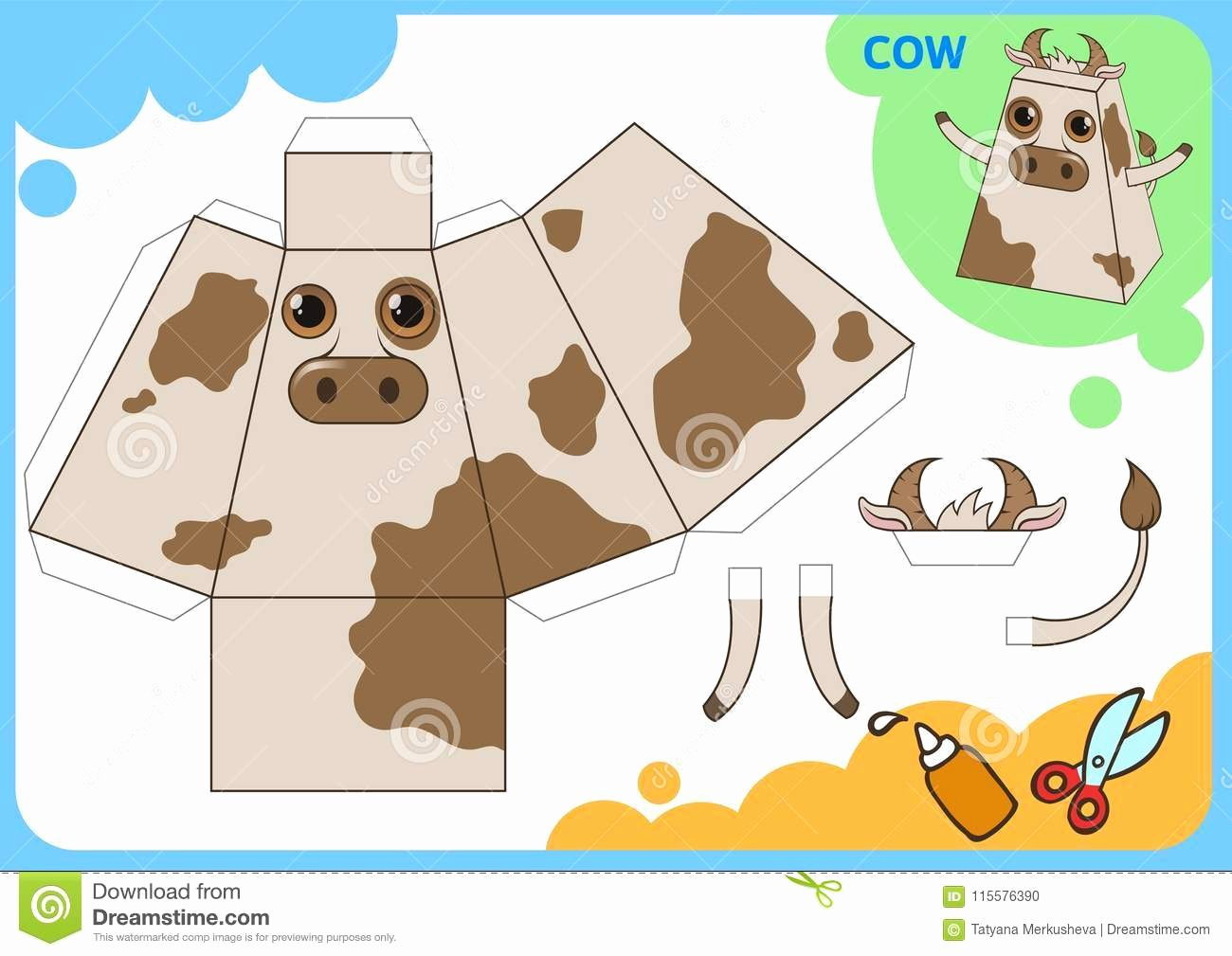 funny cow paper model small home craft project diy cut out fold glue cutouts children vector template game image